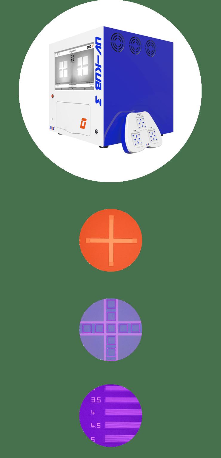 Aligneur de masque UV-KUB 3 avec joypad et exemples d'applications