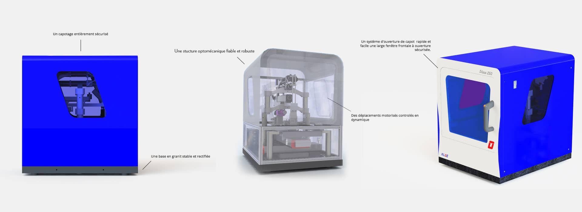 Schéma explicatif de la structure de l'équipement d'écriture directe laser Dilase 250