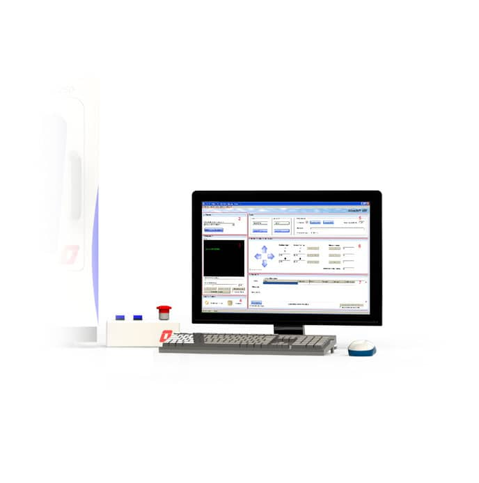Computer screen with software DilaseSoft to manage direct laser writer Dilase 250