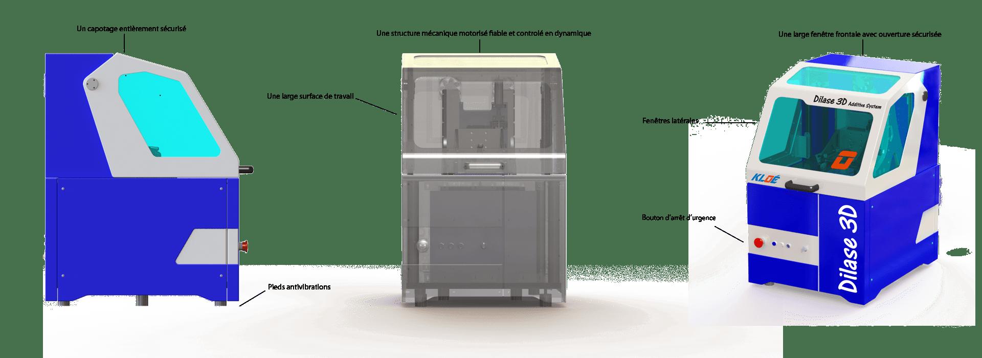 Schéma explicatif de la structure de l'imprimante 3D haute résolution Dilase 3D