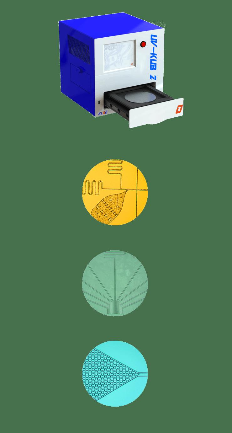 Insolateur-masqueur à LED-UV UV-KUB 2 avec tiroir ouvert et exemples d'applications