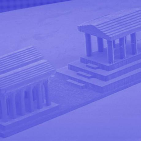 Example of 3D biotechnology structure: greek temple