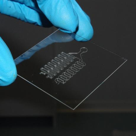 Example of 3D biotechnology structure: microfluidics device