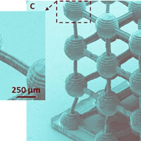 Exemple de biotechnologie 3D : treillis d'atomes