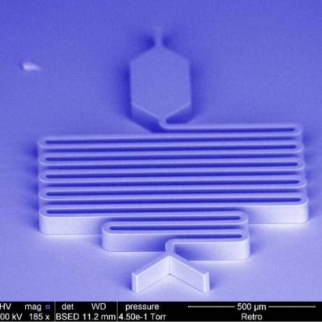 Example of microfluidics device: device master for PDMS replication